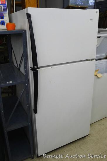 """Amana refrigerator freezer, model TM17T8W, freezer outside is 30"""" x 19"""" x 30"""", refrigerator outside"""