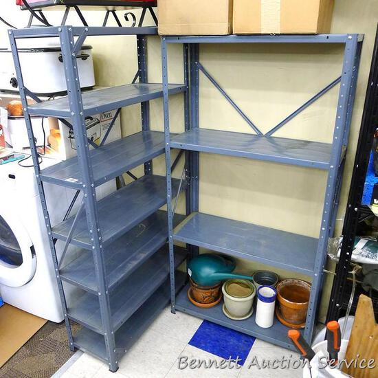 """Two adjustable metal shelving units with 7 and 4 shelves, tallest is 31"""" x 12"""" x 59-1/2"""" tall,"""