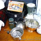 Blue bail top quart jar, canner, food mill, Apple Master apple peeler, jar lift, Hamilton Beach 4