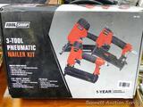Tool Shop 3-Tool pneumatic nailer kit incl angled finish nailer, 2 in 1 nailer/stapler and pin