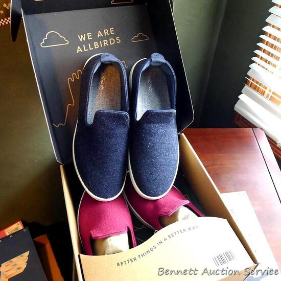 Two pair Allbirds wool slip on loafer style shoes, W10 & W11. Both appear to be in new condition.