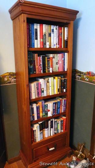 """Sturdy wooden bookshelf with lower drawer for storage 23-1/2"""" x 12"""" x 76""""."""