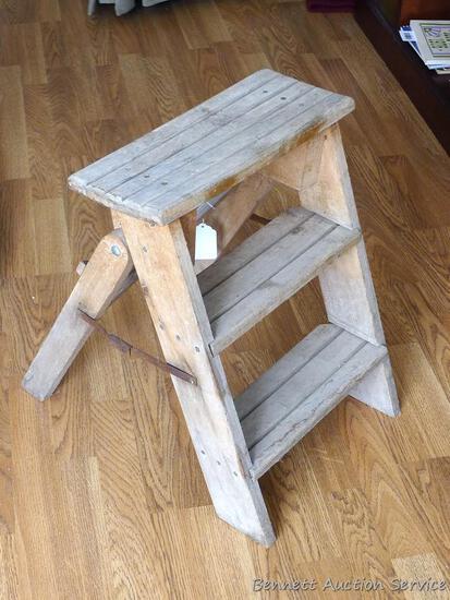 """Sturdy wooden step stool 15-1/2"""" x 6-1/4"""" x 20-1/2"""" tall."""