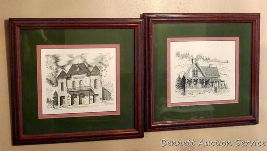 Two nicely framed and matted prints by Patterson depict The Opera House of Central City, Colorado