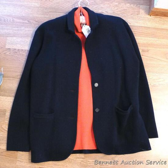100% Merino wool navy blue cardigan by J. Crew with a complimentary pumpkin orange Coldwater Creek