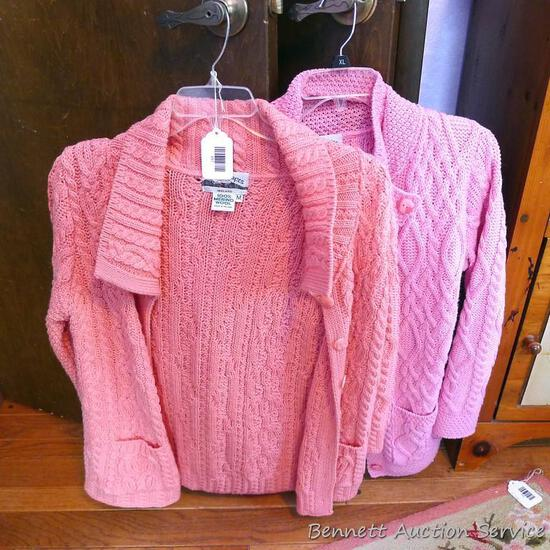 Two Irish 100% Merino Wool sweaters are both ladies size medium. Both in good condition.