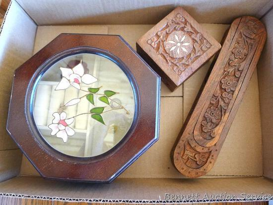 Three wooden jewelry boxes, the two carved boxes have stickers on the bottom marked Made In India.