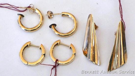 Three pairs of earrings, two are marked. One is marked Carla 14KT, other pair is marked 10K.