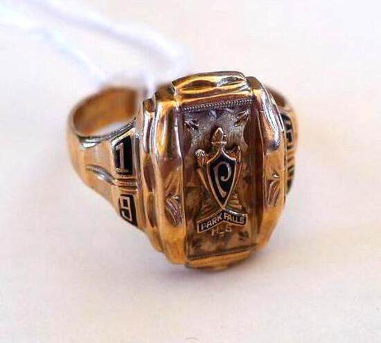 Parks Falls 1955 class ring is marked HJIOK and the owner's initials, A. L. M. Weighs 10.2 grams and
