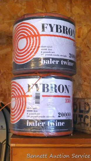One full and one partial spool of Fybron baler twine.
