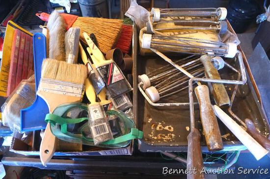 Painting supplies including rollers, paint brushes, paint pan, chalk line, sanding band, more.