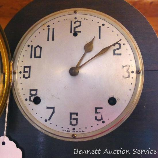 "Nice antique Gilbert mantle clock Model 1807 was made in USA. No key, so untested. 20"" wide, nice"