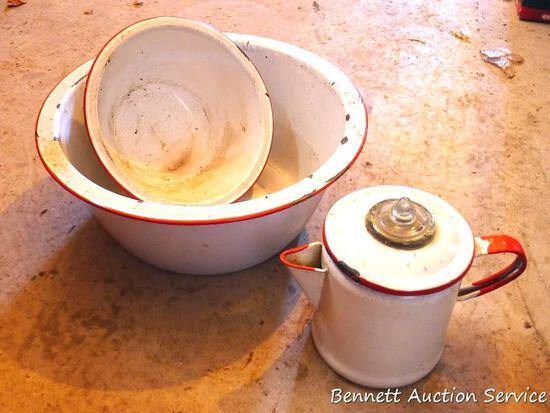 "Deep enameled basin, coffee pot with lid, deep bowl. Enameled basin 14"" across rim x nearly 6"" deep."