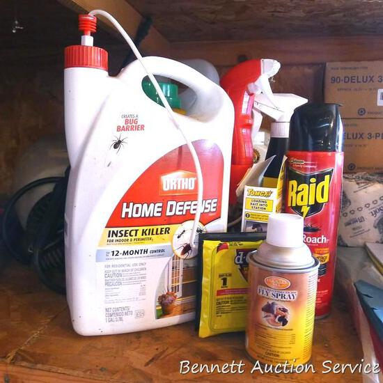 No shipping. Full & partial containers including Ortho insect killer, sprayer, Raid, Roundup, deer