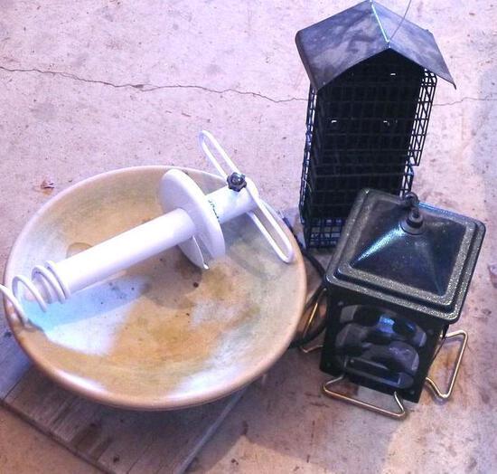 Bird feeders, suet feeder, bird bath or basin.