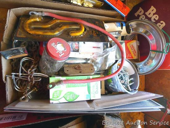 Lag bolts, door hardware, coat hooks, dog chain, JB quick weld, more.