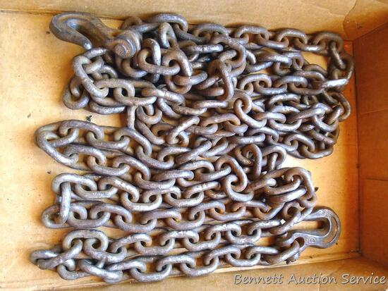 "5/16"" x 16' chain with two grab hooks."