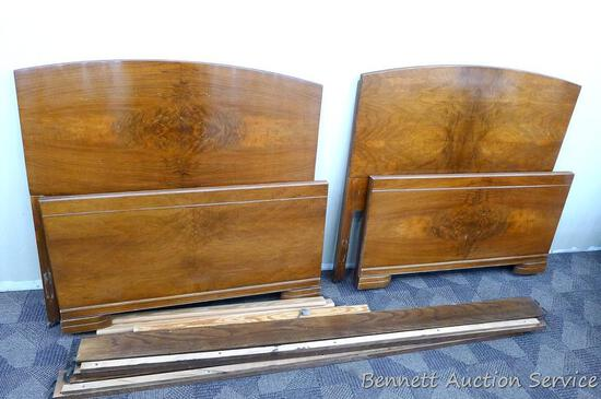 Beautiful pair of Huntley Furniture twin beds with book matched veneer.