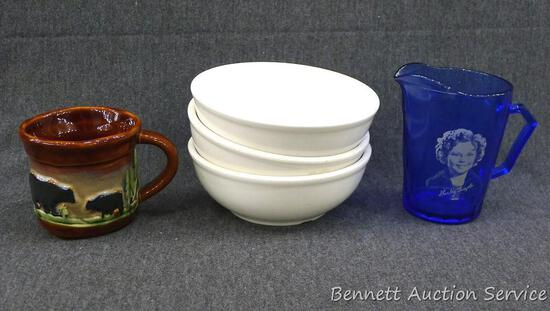 "Three heavy Homer Laughlin ironstone style bowls are each 5-1/2"" over rim. Blue glass Shirley Temple"