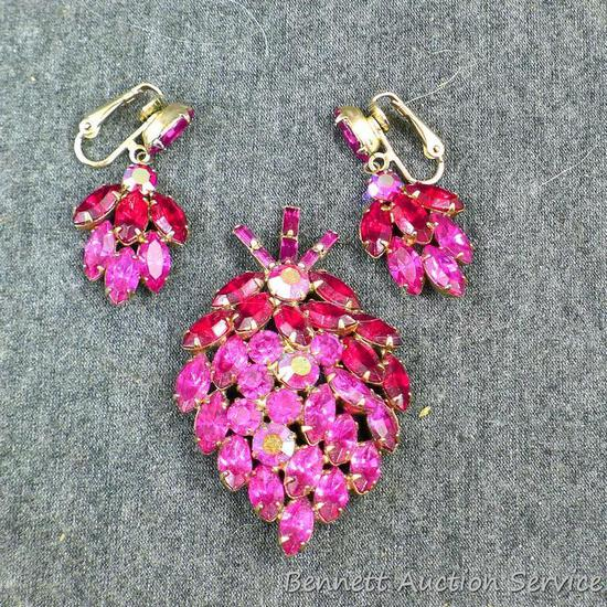 "Vintage sparkly brooch and earring set. Brooch is 2-1/4"", earrings are about 1-1/2"" long."