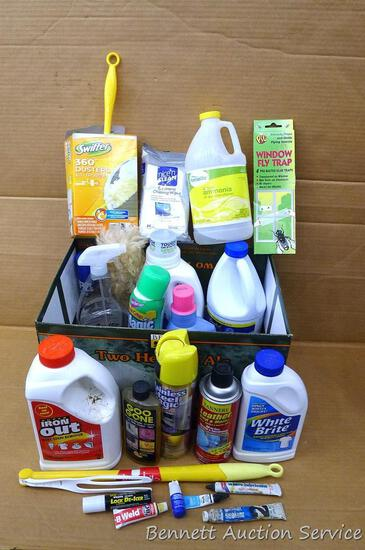No shipping. Partial containers of Iron Out, White Brite, ammonia, leather cleaner, bleach, Downy,