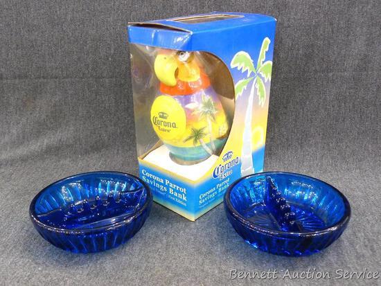 "Corona Parrot savings bank NIP; 2 blue glass ash trays 5"" x 1-1/2""."