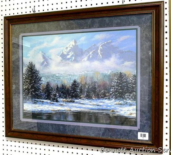 "Framed & matted print of mountain scene, 25"" x 31""."