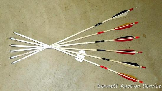 """Six wooden arrows with field tips are 31"""" long."""