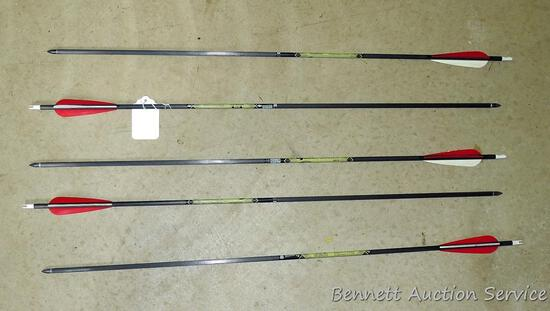 """Five 5575 Expedition Hunter Gold Tip carbon arrows with field tips are 30"""" long."""