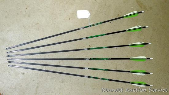 """Six 5575 Gold Tip XT Hunter carbon arrows with field tips are 30"""" long."""