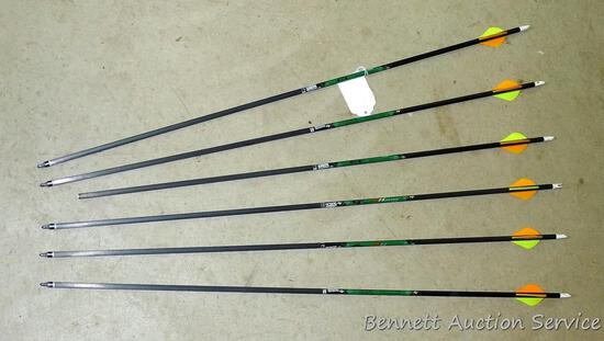 """Six Gold Tip XT Hunter 7595 carbon arrows with field tips are 30"""" long. One is missing tip."""