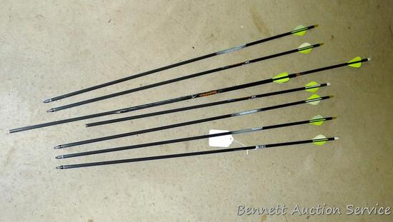 """Three Carbon Express Terminator 6075 arrows, 2 are 31"""" long with field tips, 1 is 28"""" long without a"""