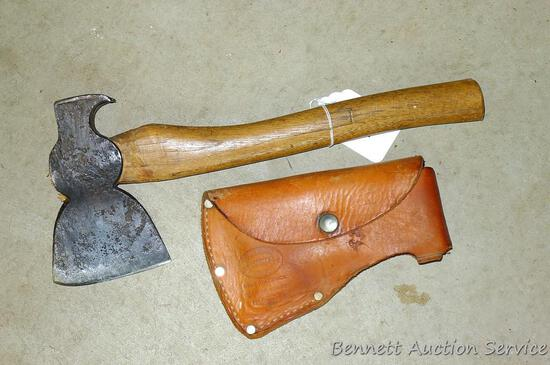 """Roofing hatchet is 14-1/4"""" long with 6"""" x 3-3/4"""" blade. Comes with a leather case."""