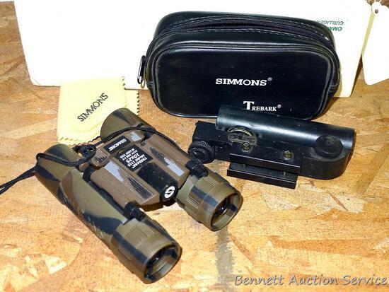 Tasco EZ Sight scope; Simmons Treebark binoculars model 1155 is 10 x 25 power with carry case.