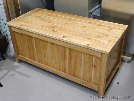"Very nice handmade cedar chest is 42"" wide x 19-1/2"" x 19-1/2"" high."