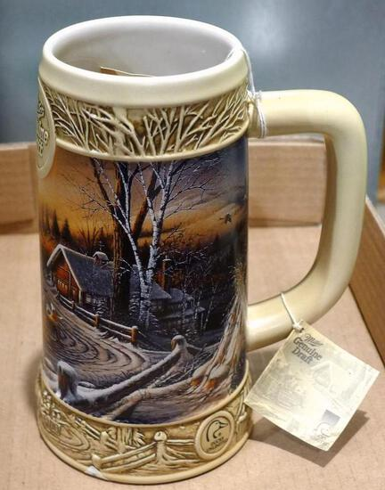 Miller Genuine Draft stein has 'The Pleasures of Winter' picture from the Ducks Unlimited Terry