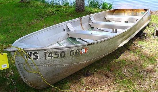 14' Sea Nymph boat is model R-14-A, comes with an extra anchor as pictured. Max load on tag reads