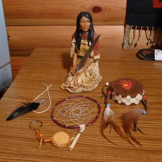 "Native American girl figurine is 8-1/2"" tall; miniature dream catchers and drum. More."