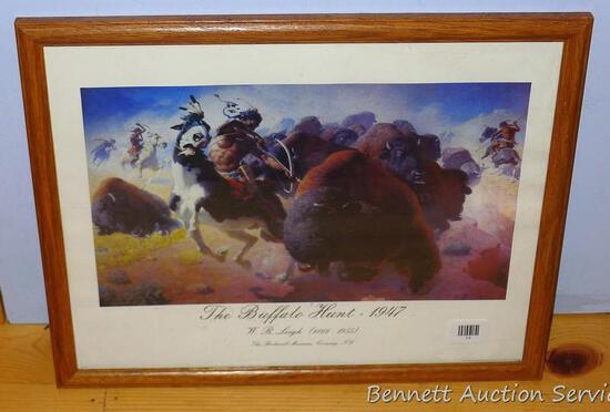 Framed print 'The Buffalo Hunt - 1947' by W.R. Leigh (1866-1955) The Rockwell Museum, Corning, NY.