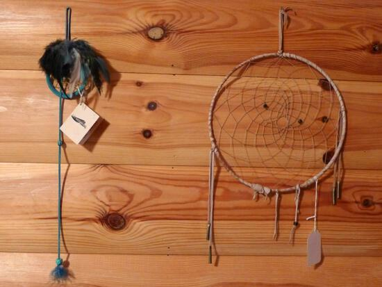 "Two dream catchers, largest is 10"" diameter."