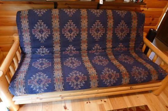 "Fantastic log framed futon with 5"" thick mattress is in good condition."