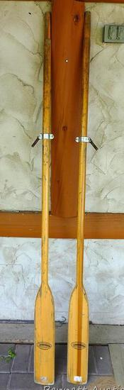 Pair of Featherbrand wooden oars with oar locks.