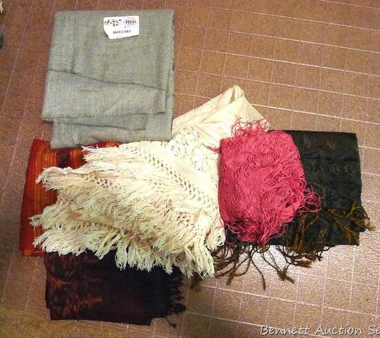 Throws, shawls and runners up to approx. 7'. Includes one 100% Gopal shawl with a very pretty