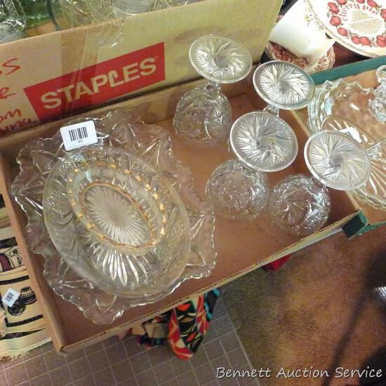"""Pressed glass pieces up to 10"""". Some very intricate."""