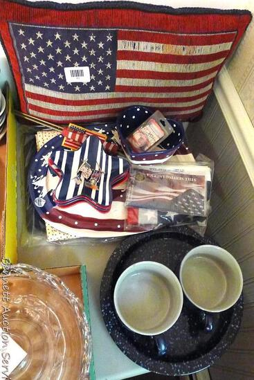 """19"""" Patriotic pillow, plus other similar items. Ceramic pieces with graniteware finish, plate is"""