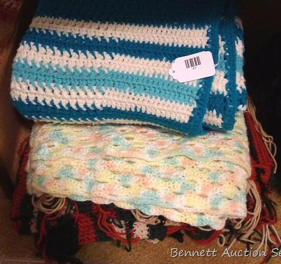 Crocheted afghans. White and turquoise is approx. 5' x 6'.