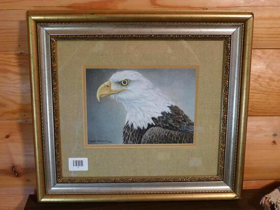 "Framed, matted and signed painting of Eagle by Robert Metropulos Jr. Frame measures 19-1/2"" x"