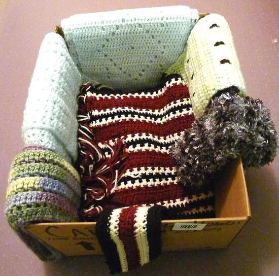 Crocheted throws or scarves, runner up to 10'.
