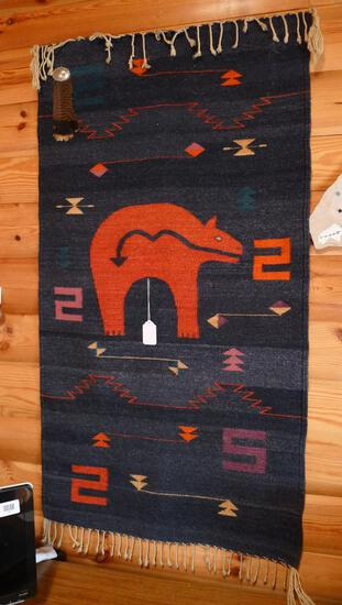 Woven Native American wall hanging is approx. 5' x 2-1/2'. Nice colors.