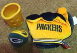 Green Bay Packers #1 glove, plus folding ear muffs and a cheesehead can keeper.
